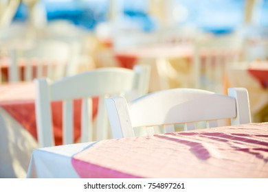 Empty tables of outdoor restaurant