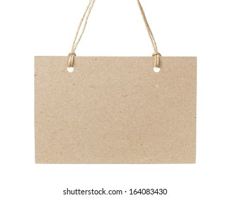 empty tag on twine with space for writing something, isolated on white background
