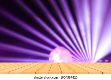 Empty tale wood flor blur light violet background