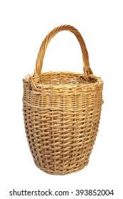 Empty Tall Vintage Wicker Basket  For Wine Bottle, Isolated  On White Background