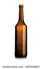Empty tall wine bottle of dark glass isolated over white background
