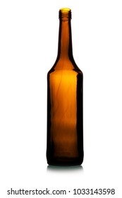 Empty tall wine bottle isolated over white background