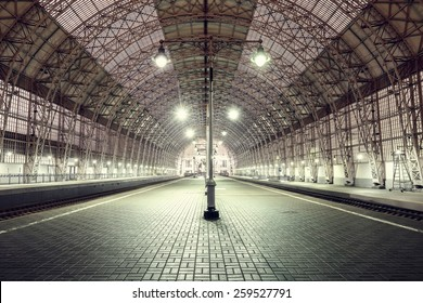 Empty terminal railway station at night time.