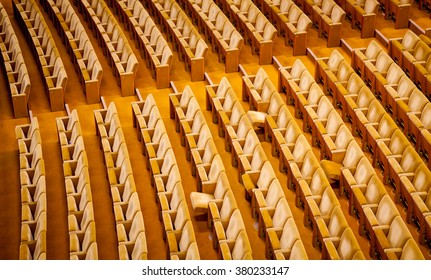 Empty theater interior auditorium cinema or conference hall.