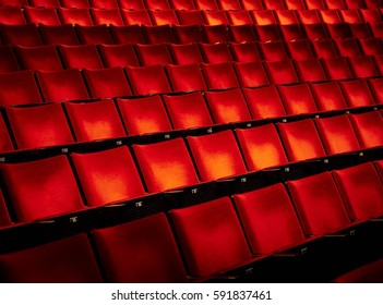 Empty theater interior details with very dark and mystic atmosphere