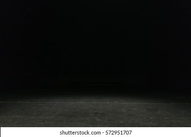 empty theater stage in dark