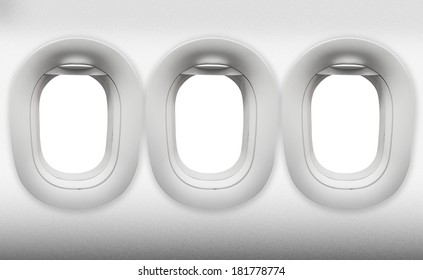 empty three window Aircraft on white