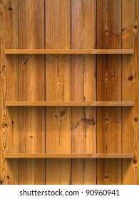 Empty three wood shelf on wood decorative wall
