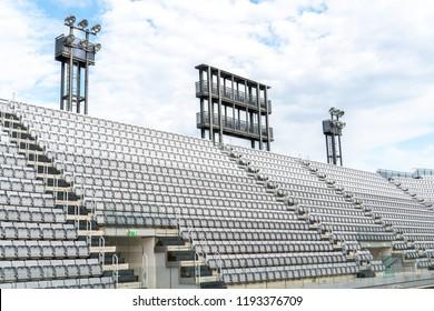 Empty tiered stadium bleachers
