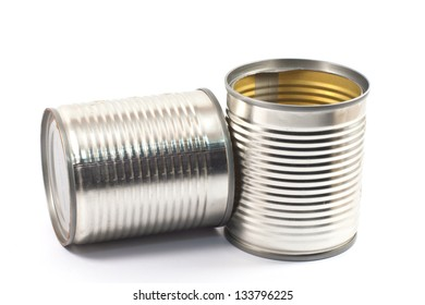 Empty tin cans on white background