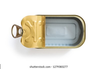 Empty tin over white background