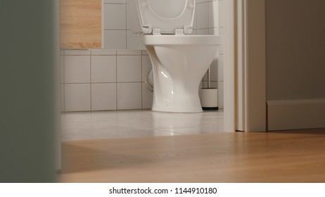 Empty toilet at home in the evening