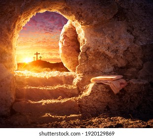 Empty Tomb With Crucifixion At Sunrise - Resurrection Concept