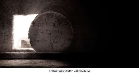 Empty Tomb: Details of Jesus Christ's Resurrection : Surrealism Background : Easter Day