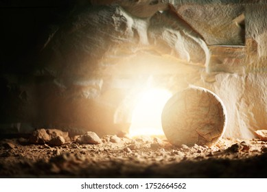 """Empty tomb of Jesus Christ with light. Born to Die, Born to Rise. """"He is not here he is risen"""". Savior, Messiah, Redeemer, Gospel. Alive. Christian Easter concept. Jesus Christ resurrection. Miracle."""