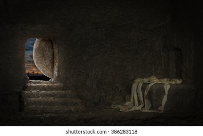 Empty tomb of Jesus with crosses on far hill