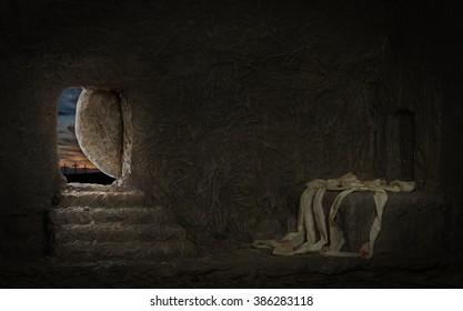 Empty tomb of Jesus with crosses on far hill & Jesus Door Images Stock Photos \u0026 Vectors | Shutterstock
