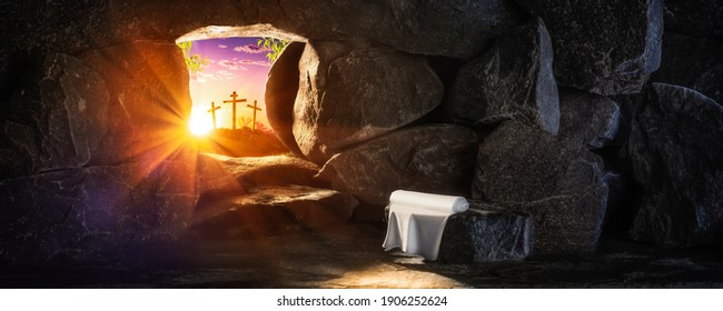 Empty Tomb With Linen Cloth At Sunrise With Sunlight Shining Through  The Open Door And Three Crosses In The Distance  - Crucifixion And Resurrection Concept