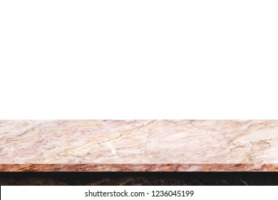 Empty top of natural marble table on white background.