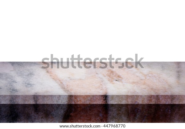 Empty top of natural marble table isolated on white background. For display or montage your products.