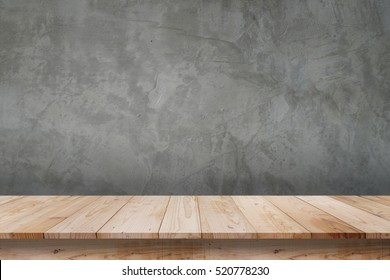Empty top shelves or table wood on concrete wall background.For put product and some thing