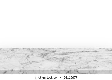 Empty top of white mable stone table on white background. can be used for product display