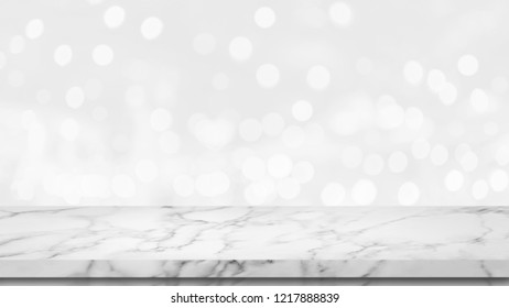 Empty top of white marble table with abstract bokeh background. For display or montage your products.