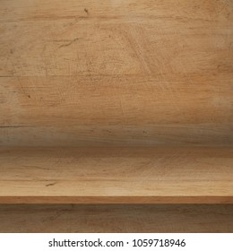 Empty top Wood shelves or table on wall background.For put product and some thing