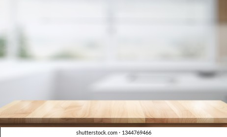 Empty top wood table for product or food montage in modern kitchen room background.