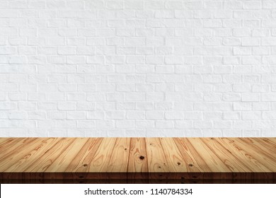Empty top wood table with white brick wall texture and background.