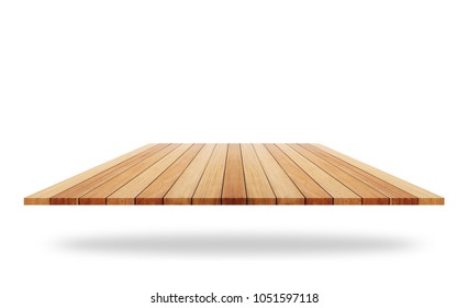 Empty top of wooden shelf or counter isolated on white background. Saved with clipping path. For photo montage or product display