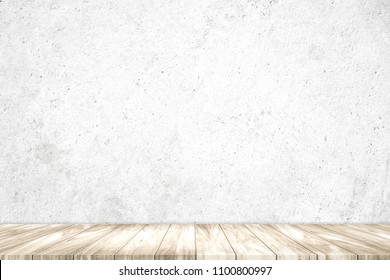 Empty top wooden shelves with grunge cement or concrete wall texture background.Counter for display or montage of product.