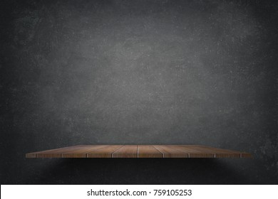 Empty top wooden shelves with grunge dark cement or concrete wall texture background.Counter for display or montage of product.