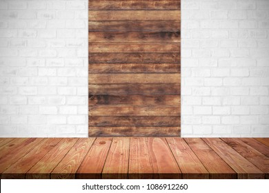 Empty top wooden table with brick wall background. For display or montage your products.