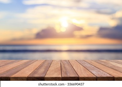 Empty top of wooden table and nature abstract blurred background. Can use for product display