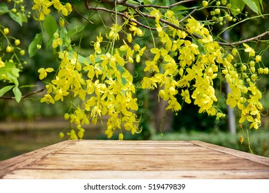Empty top wooden table on yellow flower blooming summer season