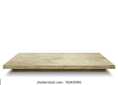 Empty top wooden table shelves with isolated on white background.Counter for display or montage of product.