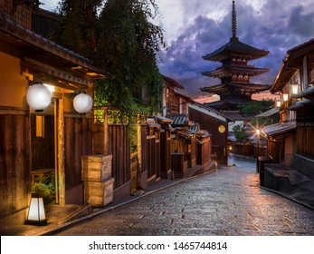 Empty traditional street with pagoda and wooden machiya houses near Gion, Kyoto, Japan