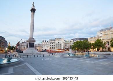 Empty Trafalgar square, early morning in London