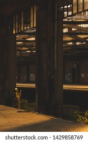 empty trainstation at sunset time