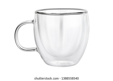 Empty transparent double wall glass tea or coffee mug isolated on white background