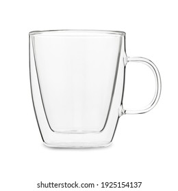empty transparent double wall glass cup mug isolated on a white background