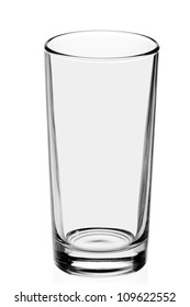 empty, transparent glass on the white background