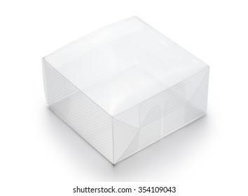 Empty transparent plastic box on white background
