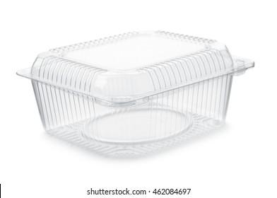 空透明塑料食品容器隔离在白色