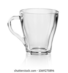 Empty transparent tea or coffee cup isolated on white background with clipping path
