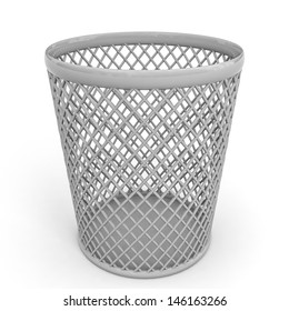 Empty trash can on white background. 3D illustration.