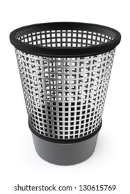 Empty trash, garbage bin on white background