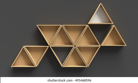 Empty triangle wooden shelves on dark wall background