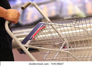 Empty trolley in supermarket or mall. supermarket